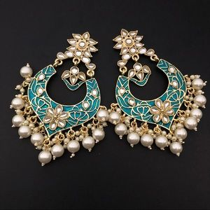 Gold plated meenakari kundan earrings - brand new